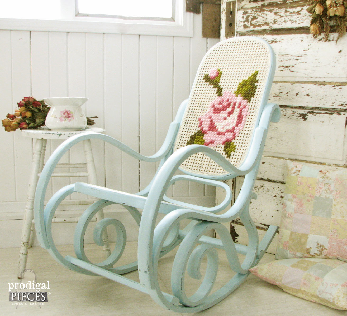 Shabby chic rocking chair makeover with embroidered back - by Prodigal Pieces