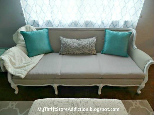 Vintage Painted Sofa Makeover - by My Thrift Store Addiction