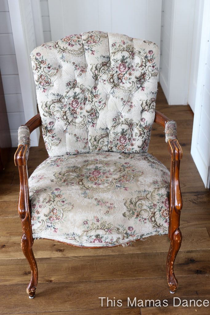 (Before) Tufted Ticking Chair Makeover - by This Mamas Dance