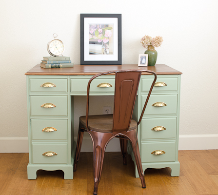 Green and Gold Vintage Desk Makeover - by A Green Paintbrush