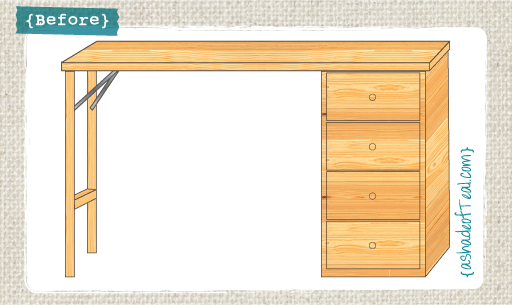 (Before) IKEA desk makeover into a padded bench - by A Shade of Teal