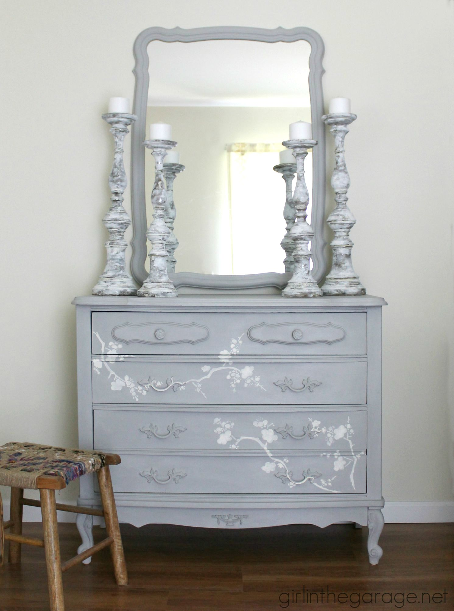 Cherry Blossom Vanity Makeover - by Girl in the Garage
