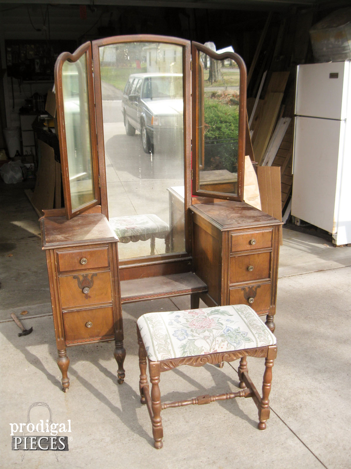 (Before) An antique vanity makeover with bench - by Prodigal Pieces