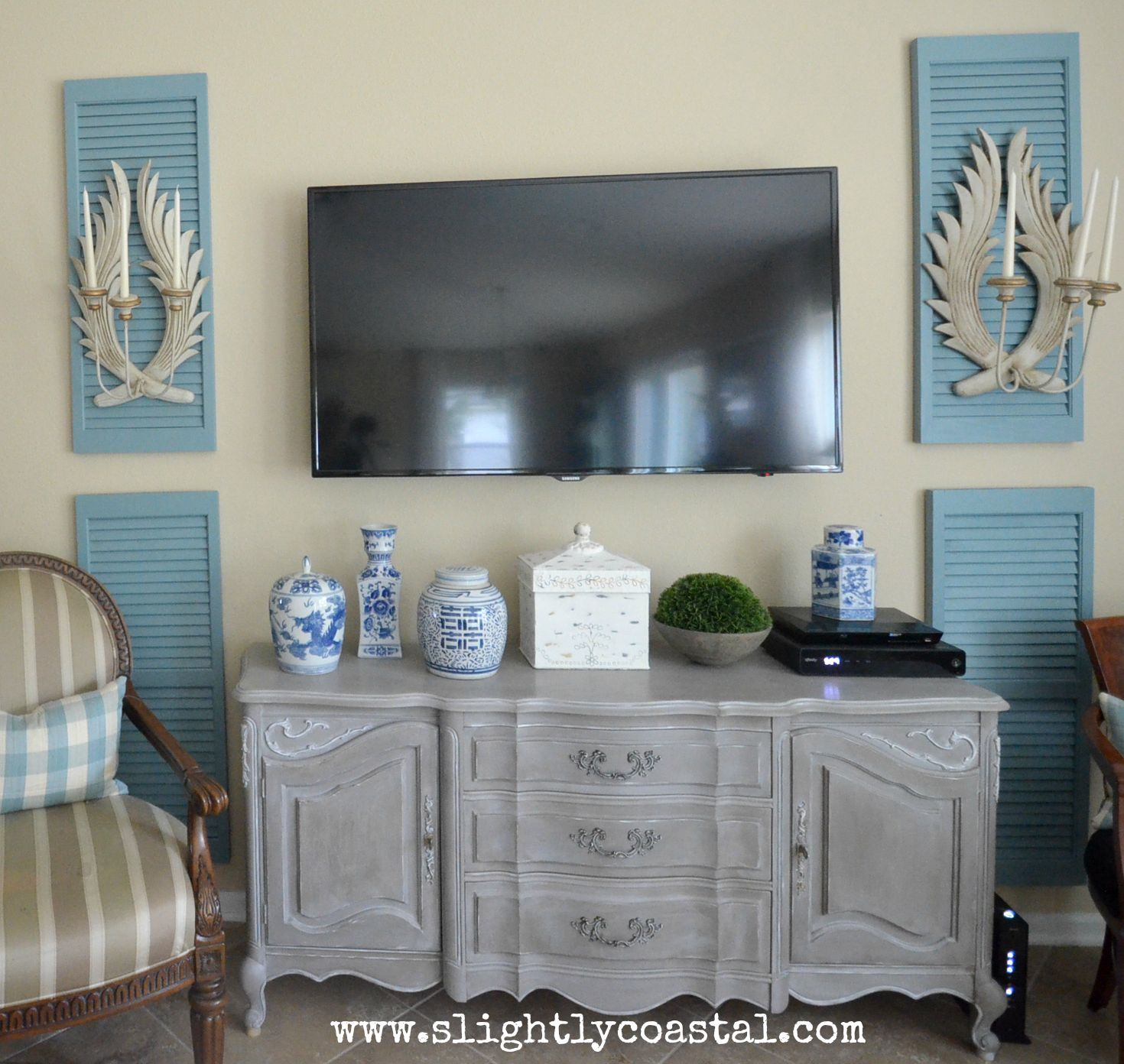 Weathered French buffet makeover - by Slightly Coastal