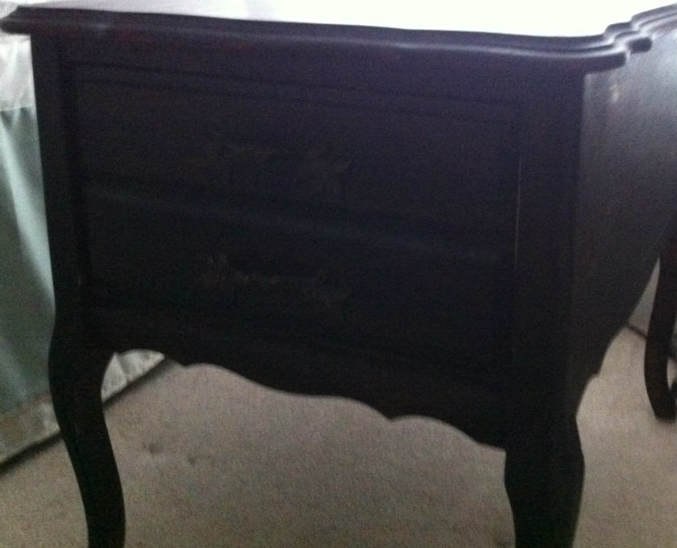 (Before) Burlap Bedside Table Makeover - by What Treasures Await