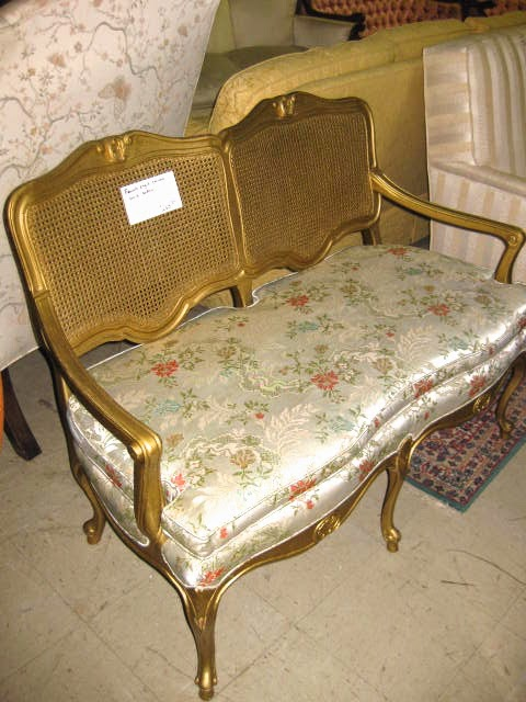 (Before) Toile for Two - Settee Makeover - by The Heathered Nest