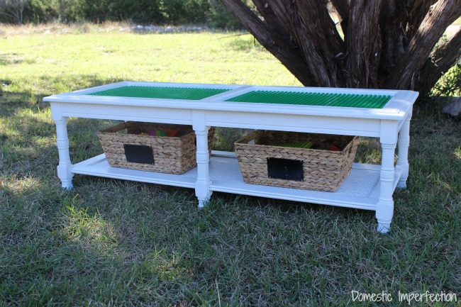Coffee Table to DIY Lego Table - by Domestic Imperfection