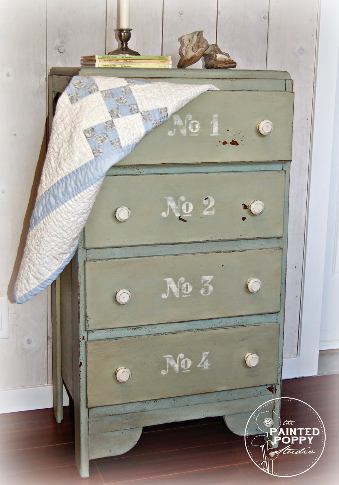 Numbered Mint Dresser Makeover - by The Painted Poppy Studio