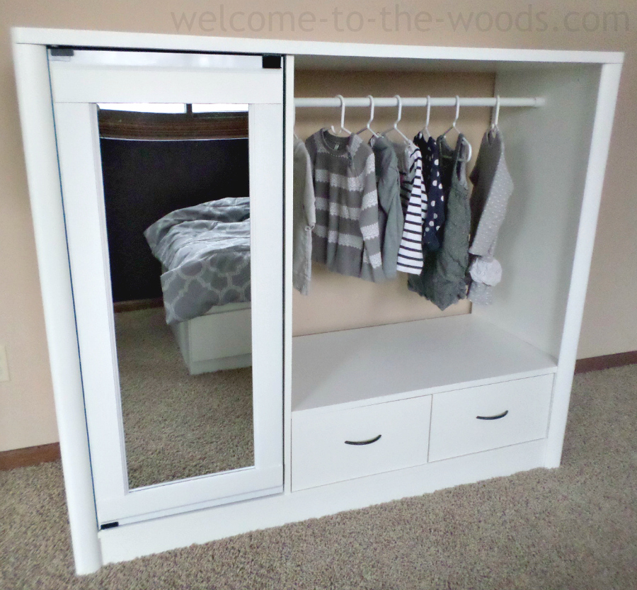 Entertainment Center Makeover to Little Girl's Closet - by Welcome to the Woods