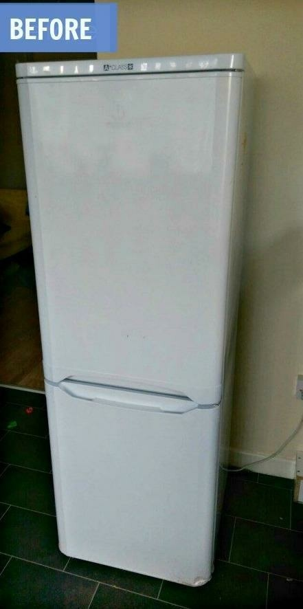 (Before) DIY Painted Fridge Makeover - by Grillo Designs