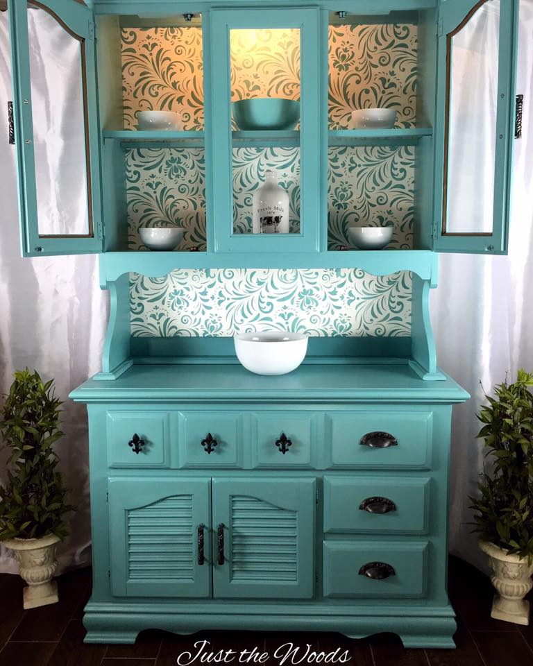 Grandma's Stenciled China Cabinet Makeover - by Just the Woods