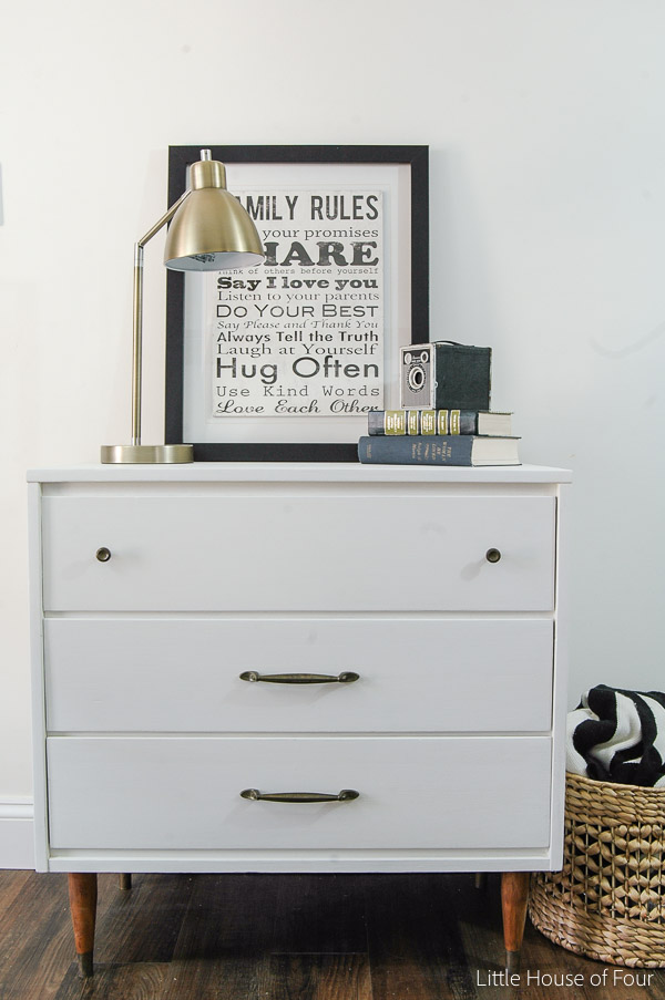 Goodwill Midcentury Dresser Makeover - by Little House of Four