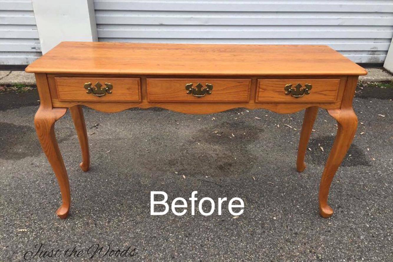 (Before) Sofa Table Makeover by Just the Woods