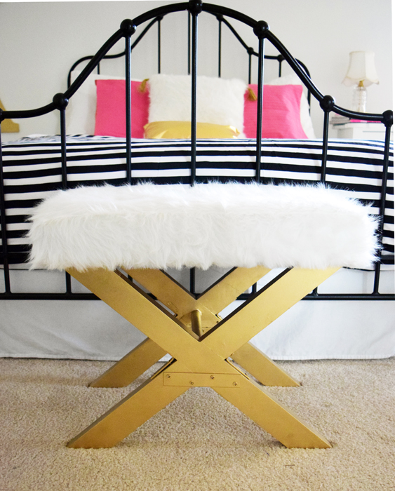Anthropologie Inspired Glamorous Bench Makeover - by Nourish and Nestle