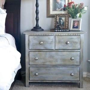 Metallic Nightstand Makeover