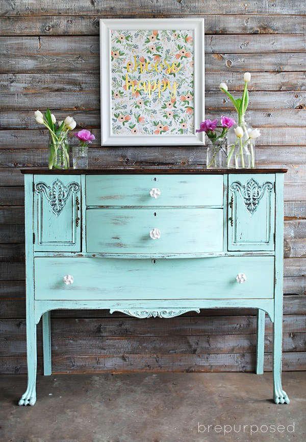 Bright and Cheerful Antique Buffet Makeover - by Brepurposed