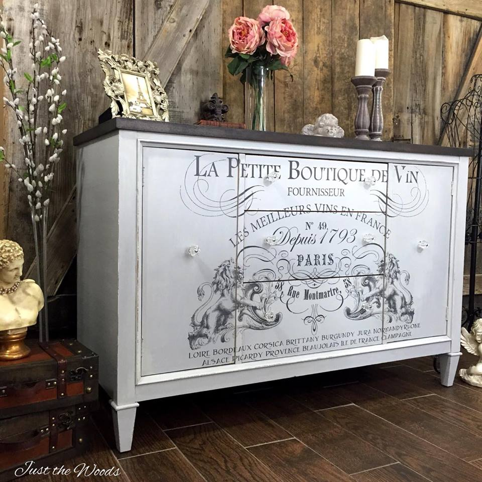 French Image Transfer Buffet Makeover by Just the Woods - DIY Furniture Makeovers
