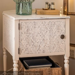 Faux Tin Tiled Sewing Cabinet