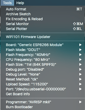 Arduino Flash Settings