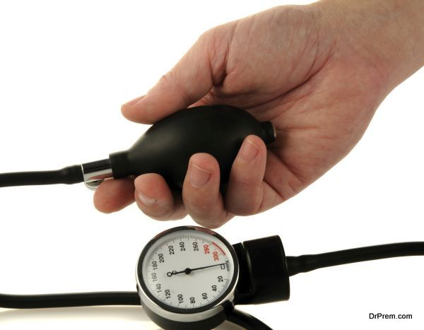 Male hand and medical tool for blood pressure measuring
