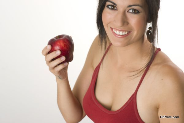 Beautiful Brunette with RED Apple