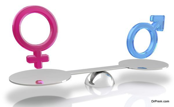 male and female sex balance on white background