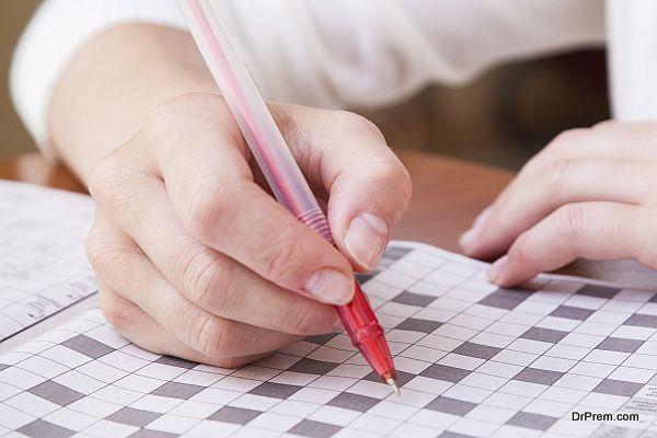 Crossword puzzle close-up.