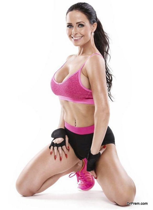 kneel posing beautiful fitness sexy woman