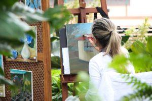 adult art artist canvas at home
