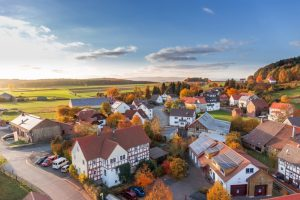 aerial view dream home architecture autumn cars