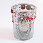 Mesh pencil cup DIY stud earring storage
