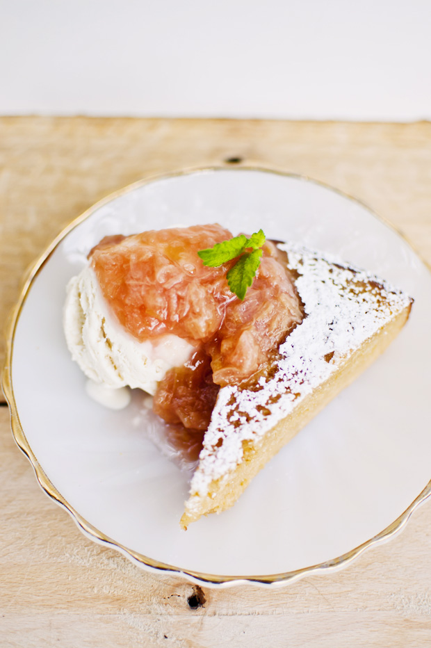 Lemon Almond Cake with Rhubarb Compote (Gluten-Free)