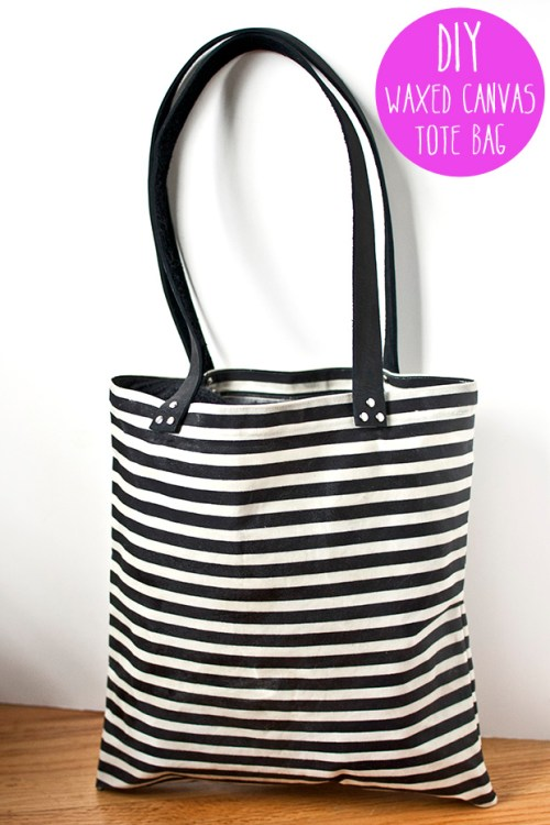 diy waxed canvas tote bag tutorial