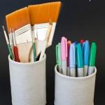 DIY Faux Leather Pencil Cup
