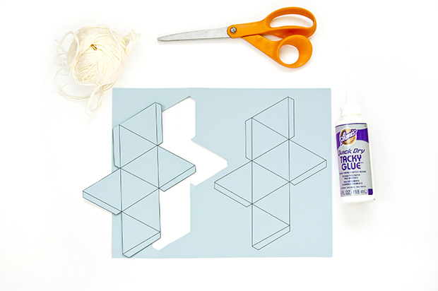 Learn how to make geometric paper ornaments, template included