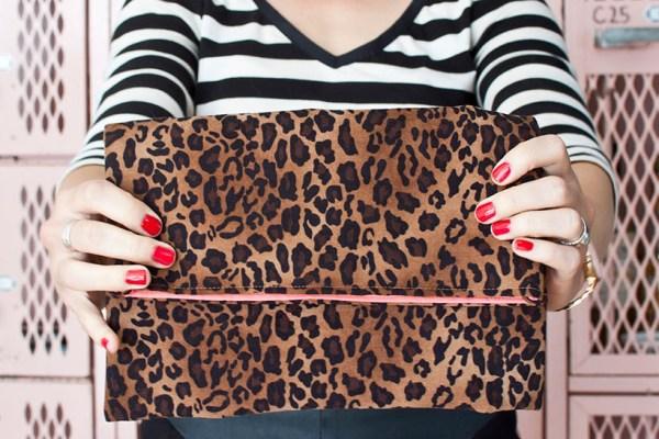 Sew a Leopard Fold-Over Clutch