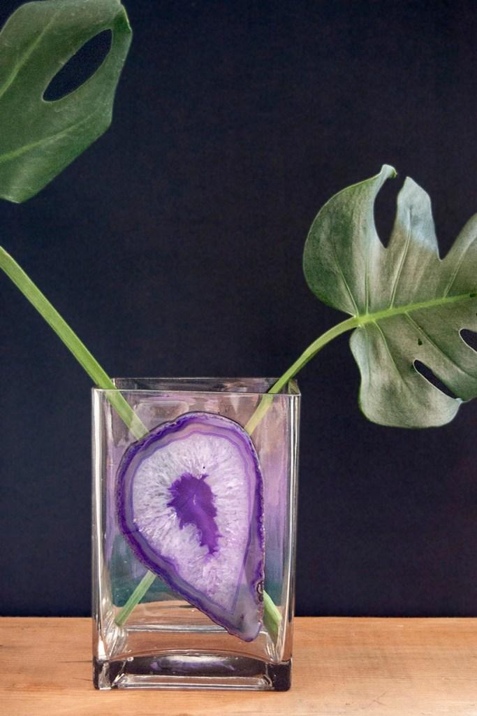 DIY agate slice vase