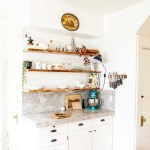 Kitchen Makeover: White cabinets, and floating, live-edge shelves