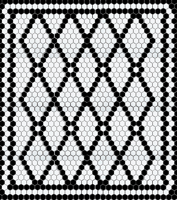 black and white hexagon tile pattern