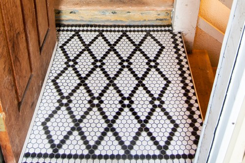 Black and white hex tile pattern
