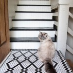 Painted black and white stairway makeover