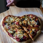 Red Pepper, Portobello, and Artichoke Heart Pizza