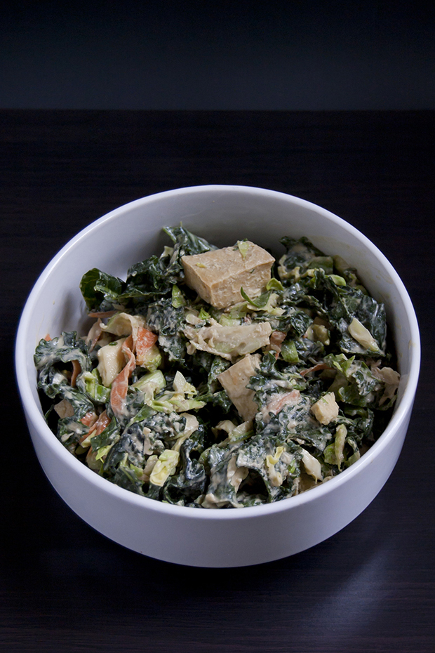 kale+brussels sprouts salad recipe