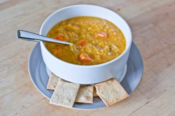 Red Lentil Soup + Homemade Crackers