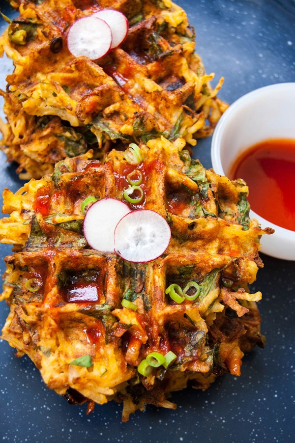 Soyrizo and Spinach Hash Brown Waffles with Sriracha Syrup