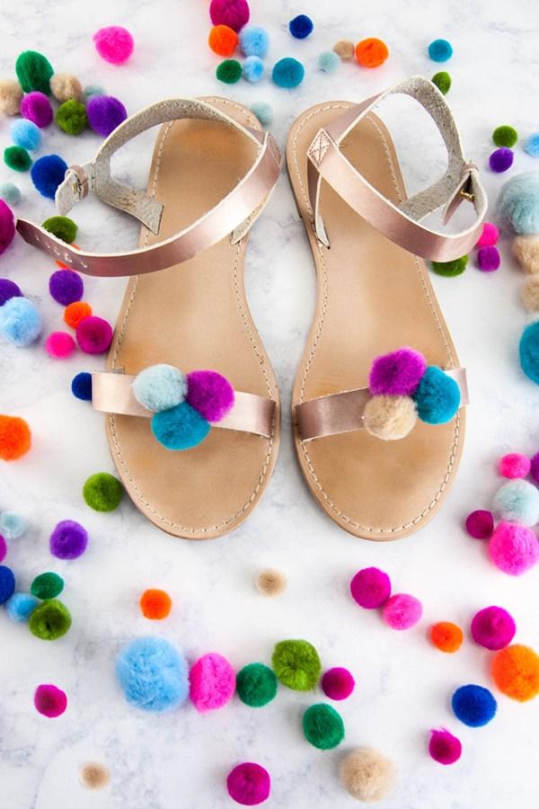 Quick DIY Pompom Sandals