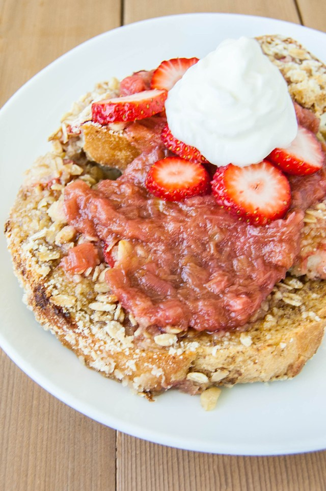 Traditional or Vegan Strawberry Rhubarb French Toast Bake. This is a great recipe for company, because you can make most of it the night before, then just pop it in the oven!