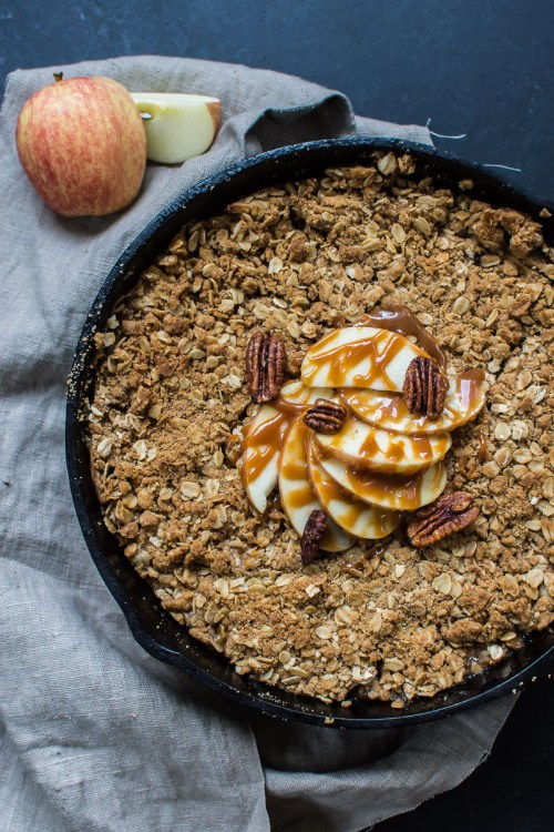 Apple crisp with slow cooker whiskey salted caramel sauce