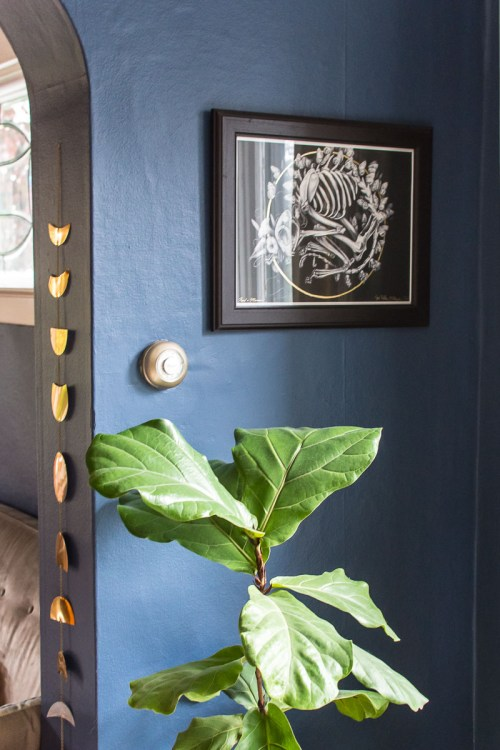 Navy blue and blush industrial mid-century dining room