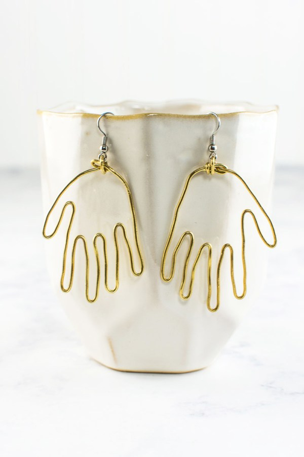 DIY Brass Hand Earrings